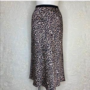 Victoria's Secret Satin Midi Skirt Large Leopard